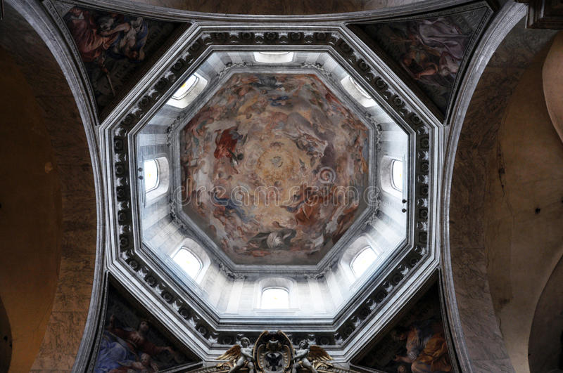 Painted ceiling of the dome of Santa Maria del Popolo basilica. ROME, ITALY - MARCH 14, 2016: The ceiling of the dome of the Basilica of Santa Maria del Popolo royalty free stock image