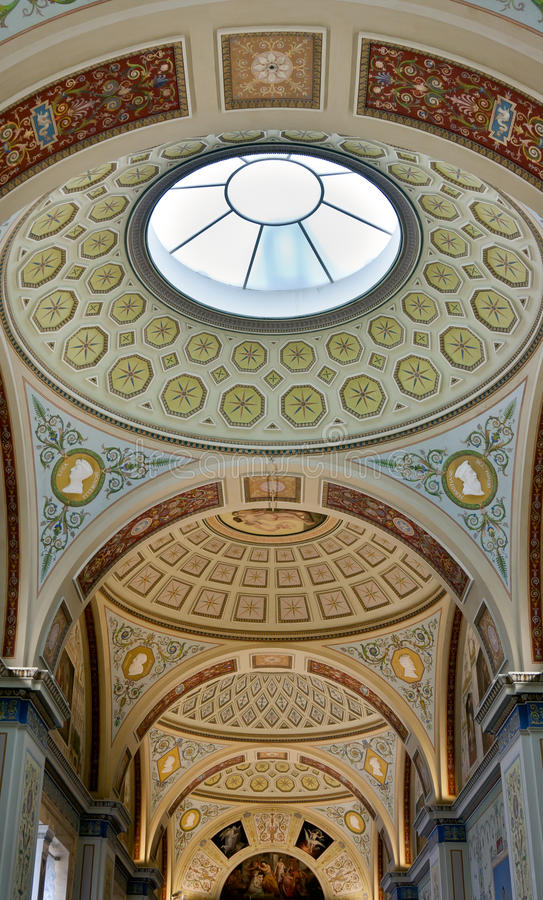 Painted ceiling at the Hermitage royalty free stock photo