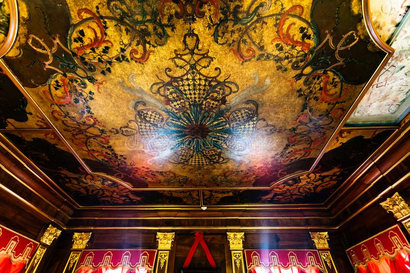 Painted ceiling in in Menshikov Palace royalty free stock photo
