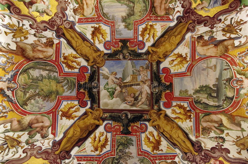 Painted colored ceiling in Vatican Museum, landmark attraction in Vatican State stock photo