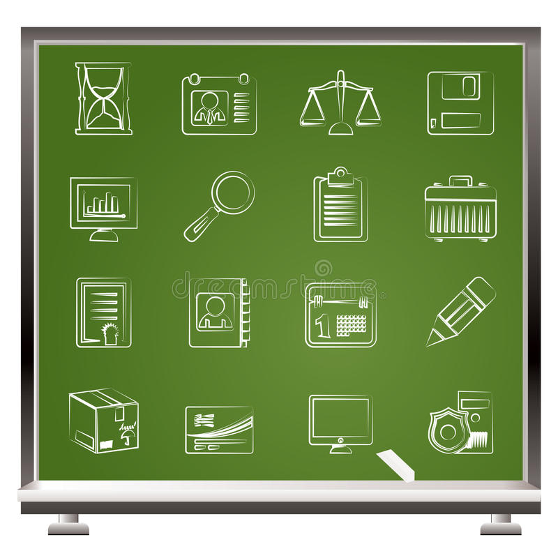 Painted with chalk Business and office Icons stock illustration