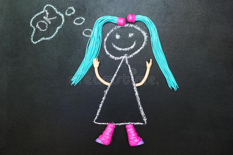 Painted with chalk girl with pigtails thinking royalty free illustration