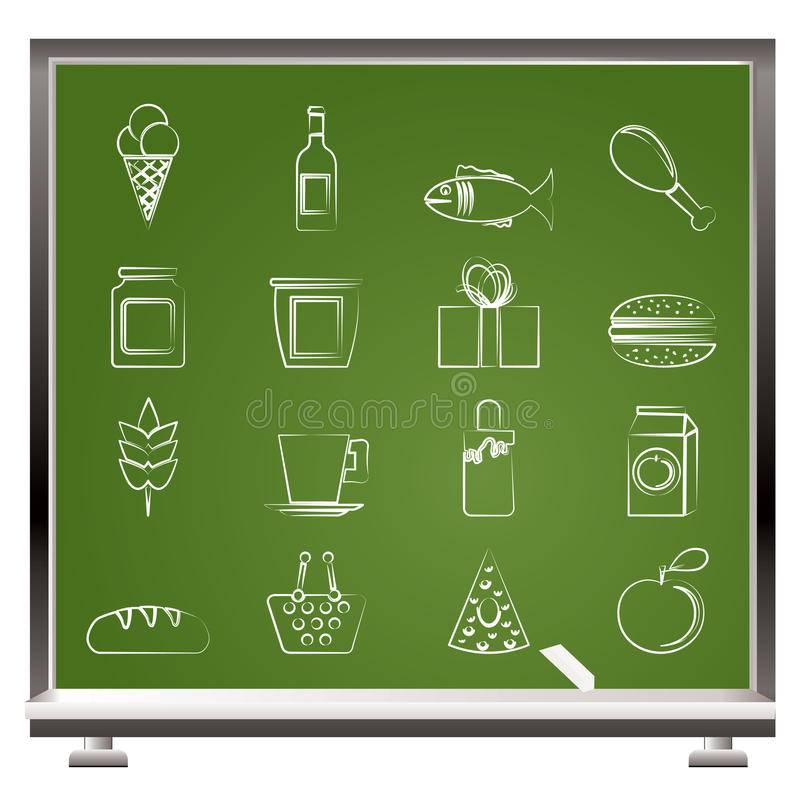 Painted with chalk shop, food and drink icons stock illustration
