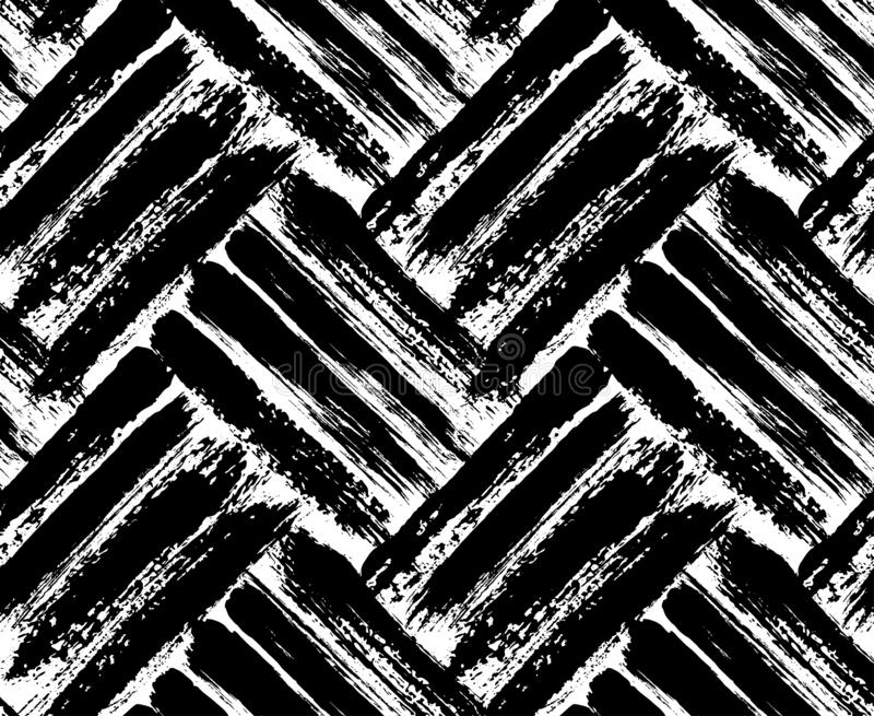 Painted chevron pattern. Seamless brush stroke lines. stock illustration