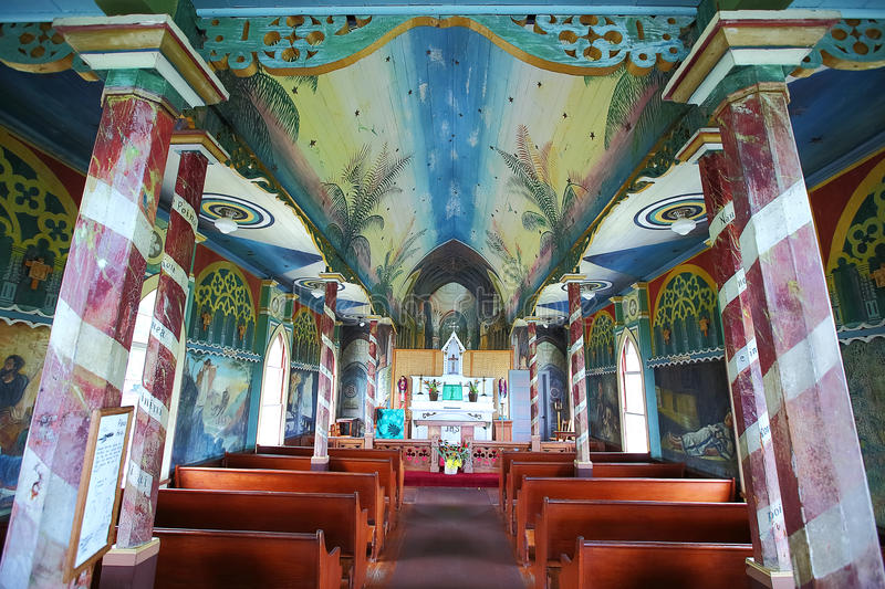 Painted Church on the big island of Hawaii. Interior of the Painted Church on the Big Island of Hawaii royalty free stock photography