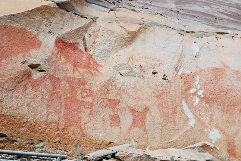 Painted cliff, pha taem stock image