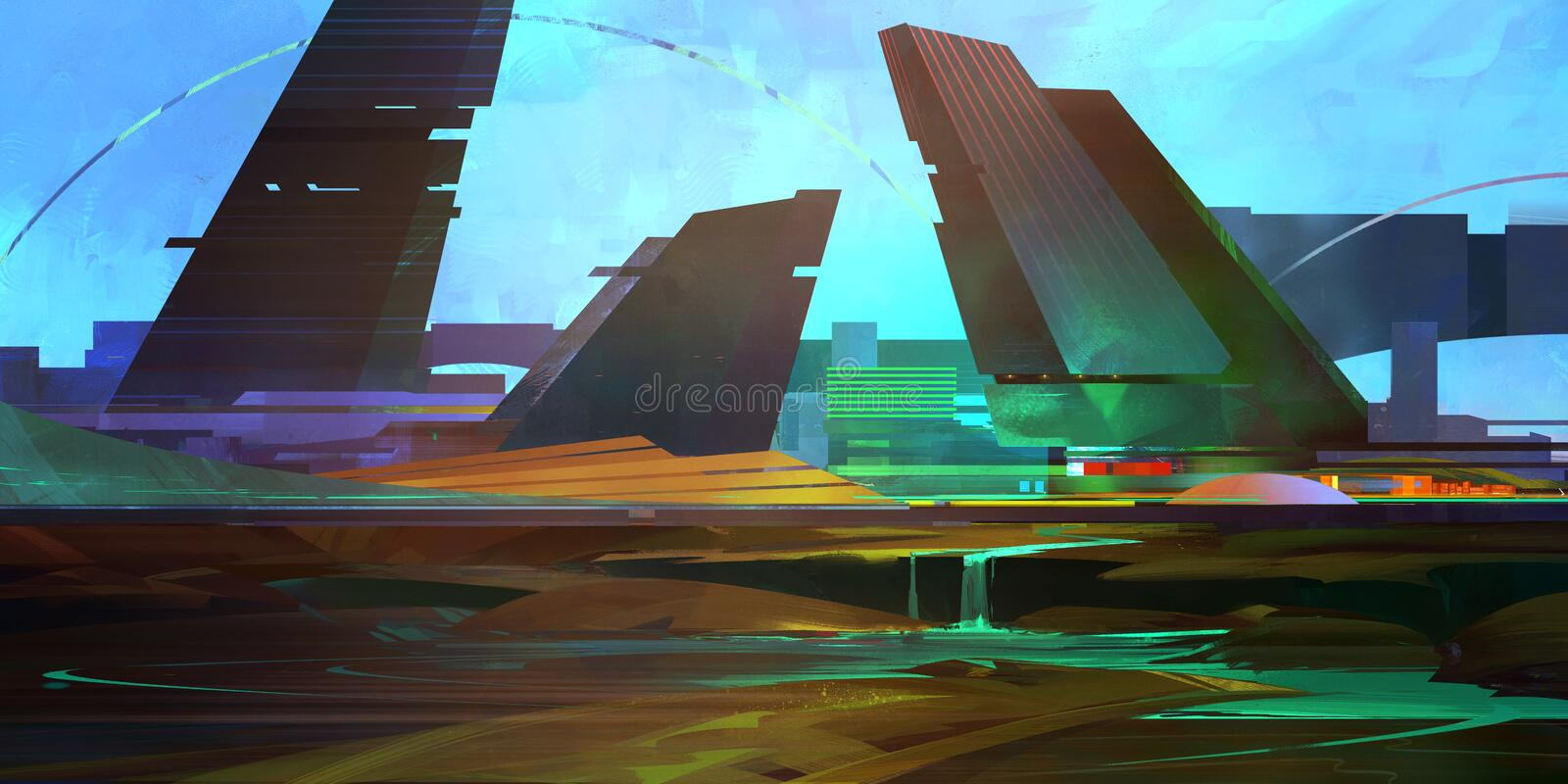 Painted color fantastic city of the future in the style of cyberpunk stock image