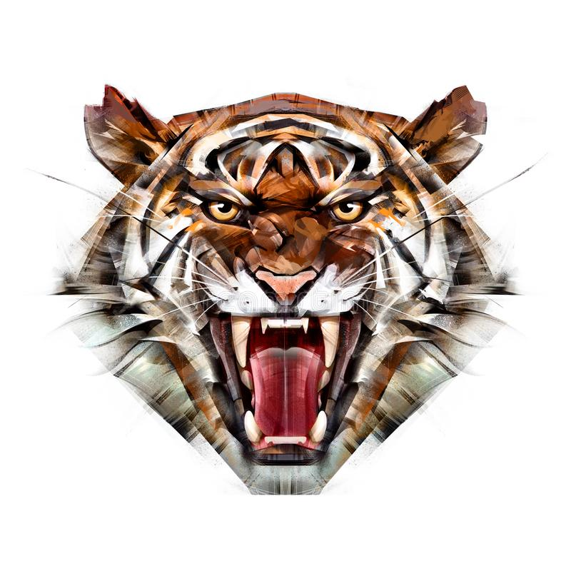 Painted color portrait of a tiger muzzle on a white background vector illustration