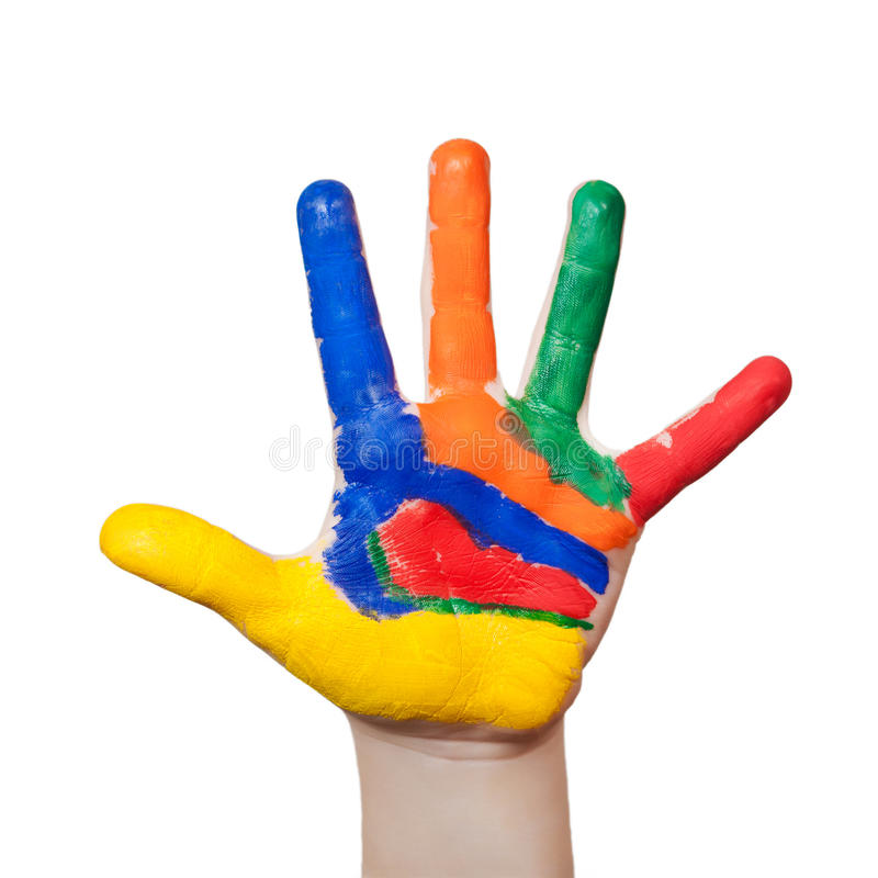 Painted colorful hand stock images