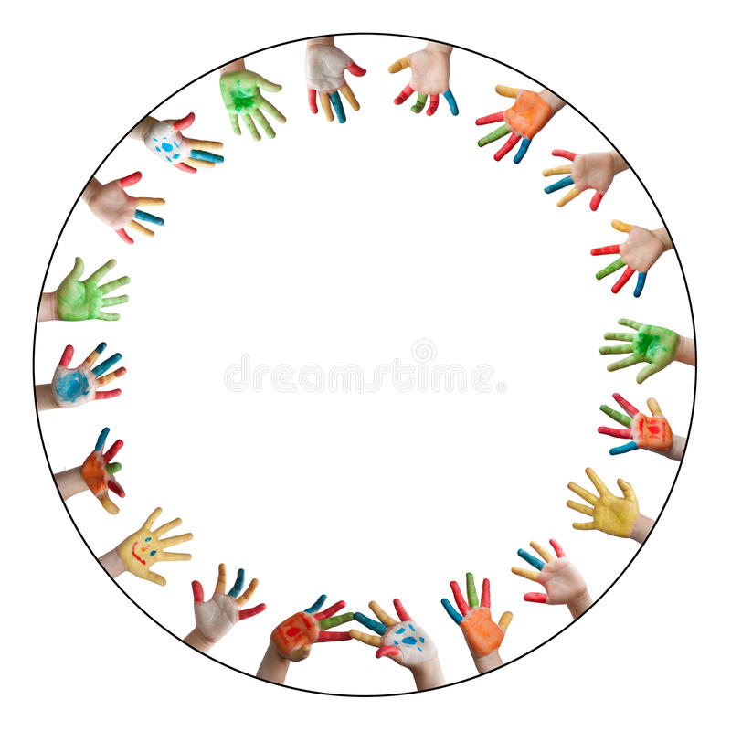 Painted colorful hands stock photo