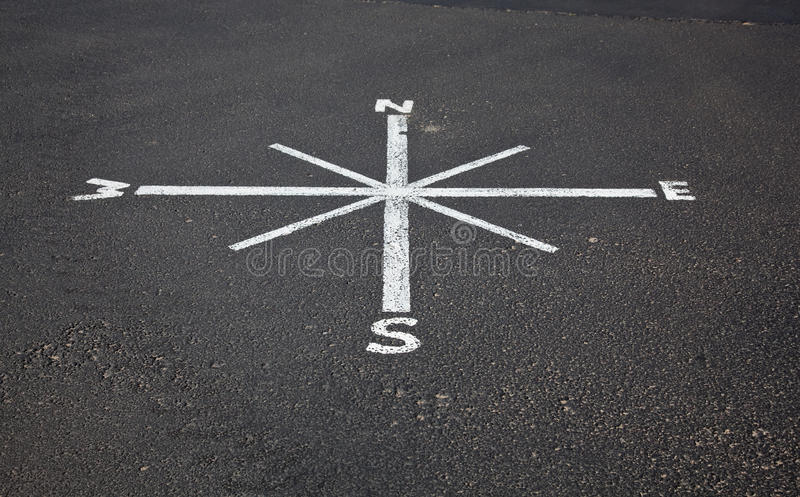 Painted compass on road surface royalty free stock image