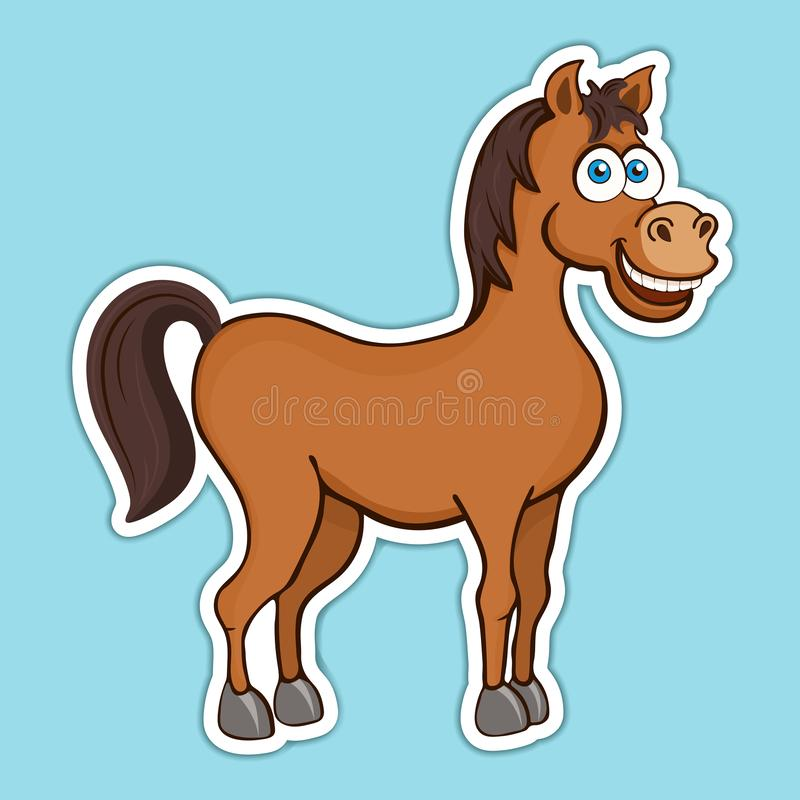 Painted cute funny brown smiling horse sticker, design element, print, colorful hand drawing, cartoon character, vector illustrati stock illustration