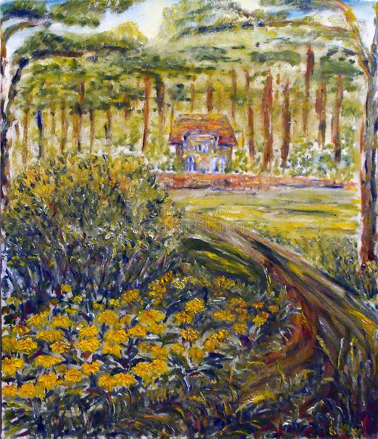 Painted cute house in the forest with flowers and garden. Smal European house, yellow flowers, road and great old ancient forest. Oil on canvas vector illustration