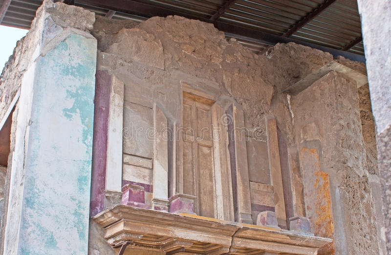 The painted decors of Pompeii stock photos