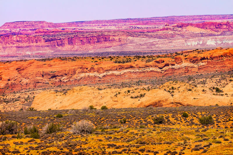 Painted Desert Red Moab Fault Arches National Park Utah. Painted Desert Colorful Yellow Grass Lands Orange Sandstone Red Moab Fault Windows Section Arches royalty free stock image