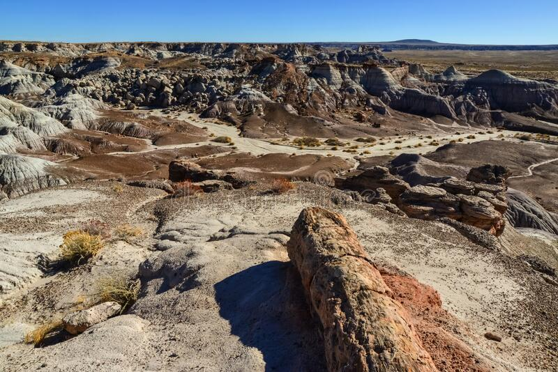 The Painted Desert on a sunny day. Diverse sedimentary rocks and clay washed out by water. Petrified Forest National Park, USA,. Arizona royalty free stock photos