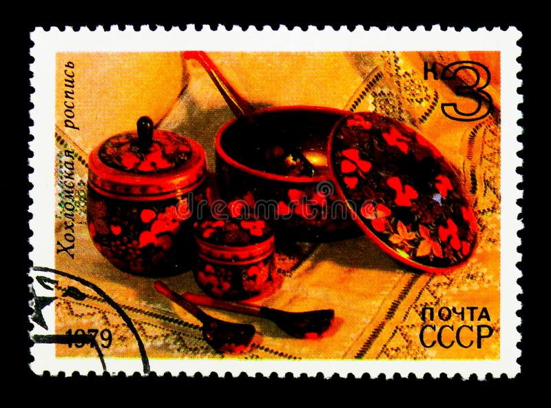 Painted dish and jars (Khokhloma), Folk Crafts serie, circa 1979. MOSCOW, RUSSIA - NOVEMBER 26, 2017: A stamp printed in USSR (Russia) shows stock images
