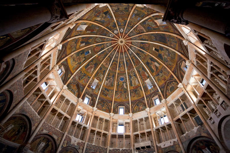 Painted dome ceiling of The Baptistery of Parma royalty free stock images