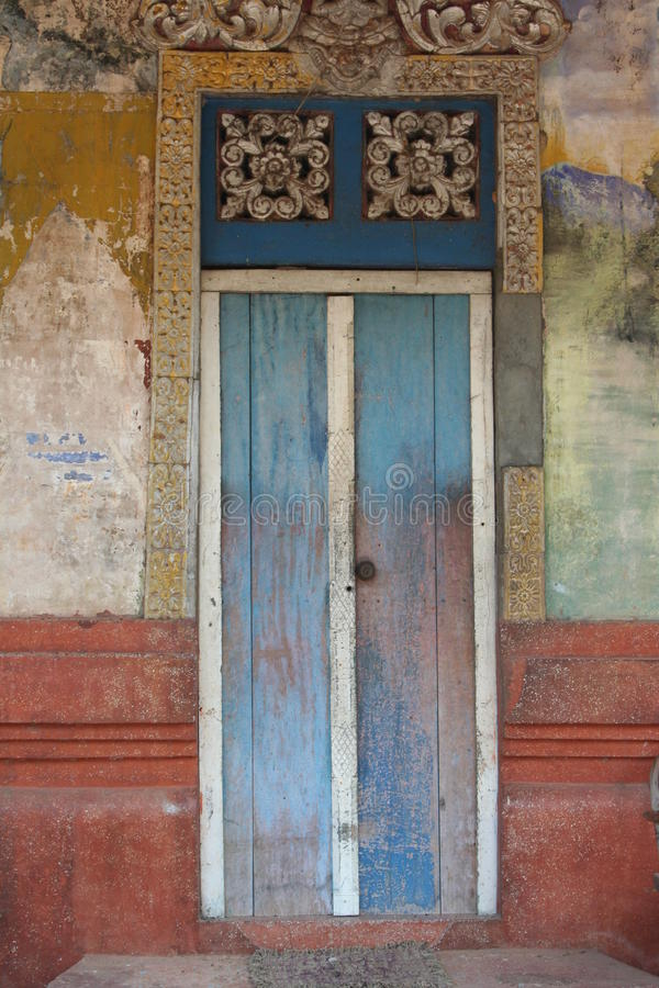 Painted door, cambodia stock images