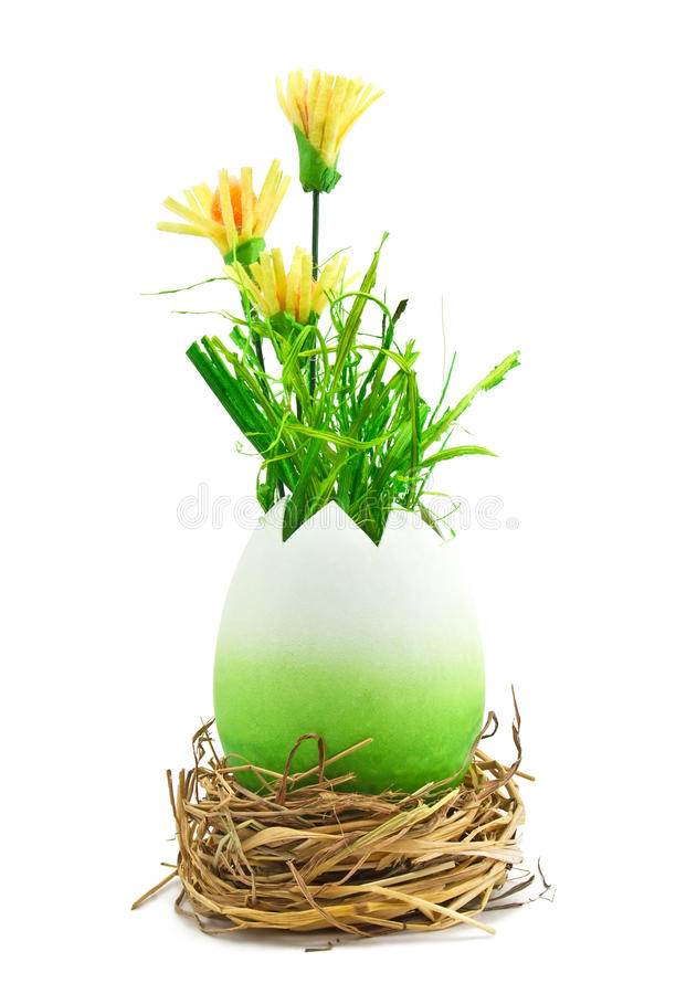Download Painted Easter Egg With A Yellow Flowers Stock Image - Image: 23613241