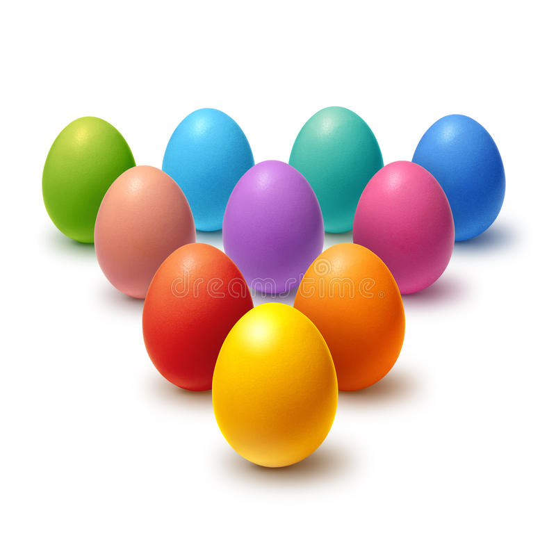 Painted Easter eggs collection. Colorful Easter eggs aligned in triangle and isolated on white vector illustration