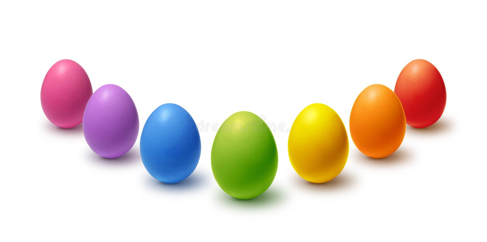 Painted Easter eggs collection. Rainbow colored Easter eggs isolated on white royalty free illustration