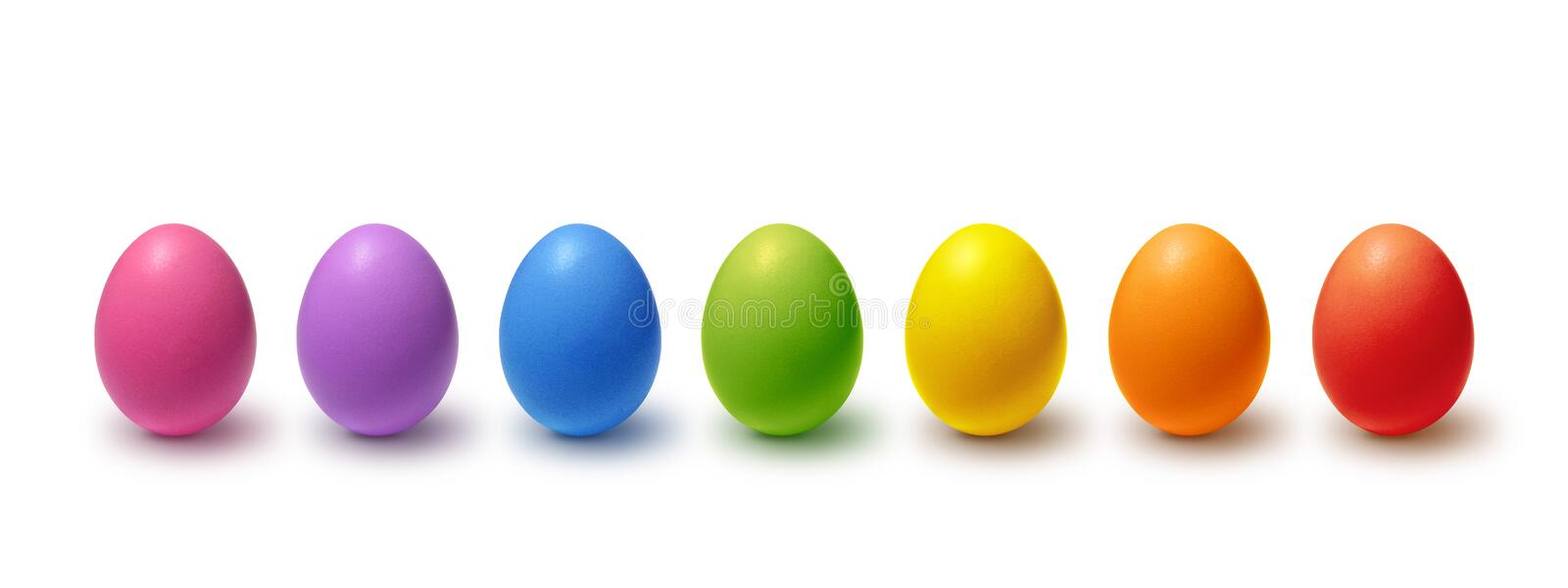 Painted Easter eggs collection. Rainbow colored Easter eggs on white vector illustration