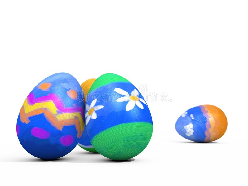 Painted Easter Eggs - isolated stock photo