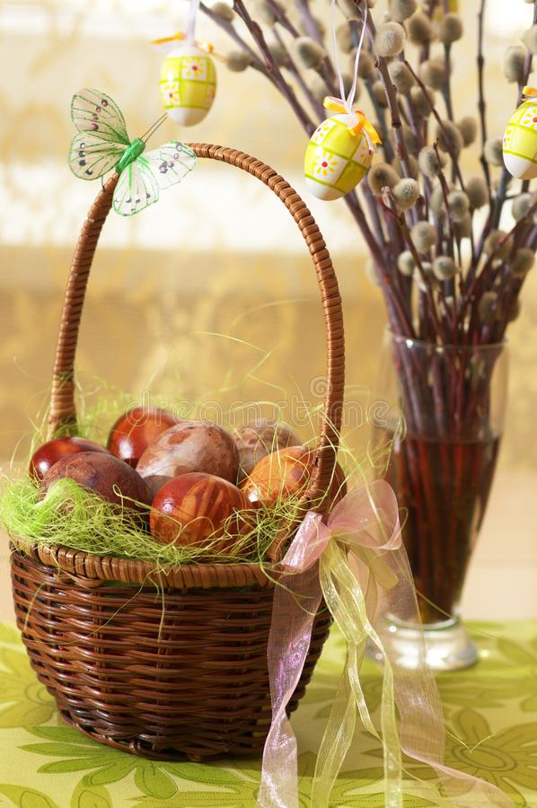 Painted Easter eggs and willow stock photo