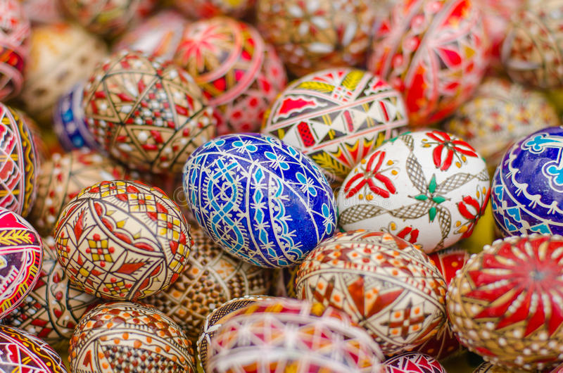 Painted easter eggs. Romanian traditional art handmade stock photo