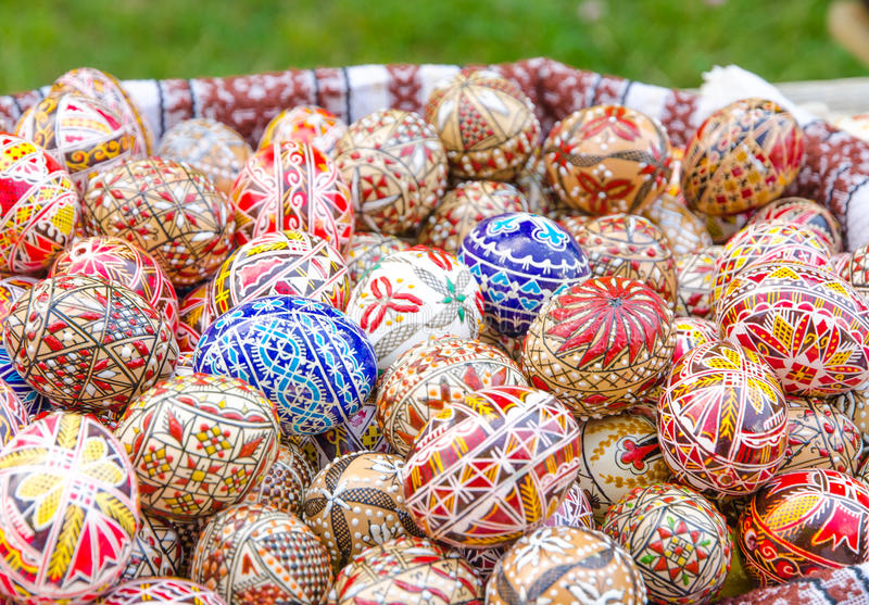 Painted easter eggs. Romanian traditional art handmade. Photo taken on June 27th, 2015 in Village Museum Bucharest royalty free stock photos