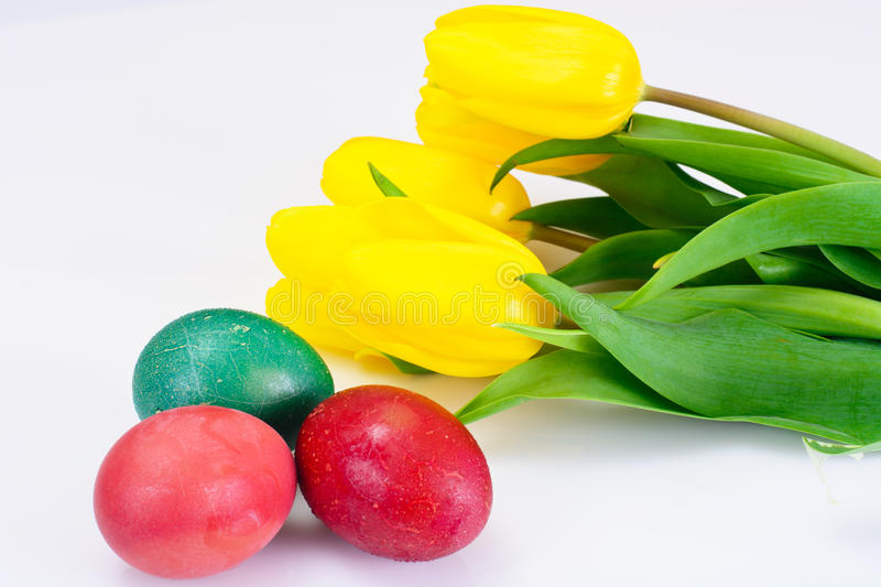 Painted Easter Eggs and Spring Yellow Tulips Flower royalty free stock image
