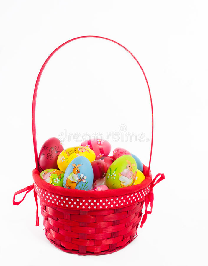 Painted eggs in basket royalty free stock photo