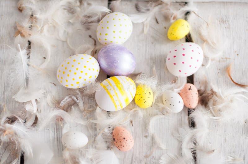 Easter, colored eggs, yellow, white, white tree, white background , feathersa , chicken eggs, quail eggs , stock photography