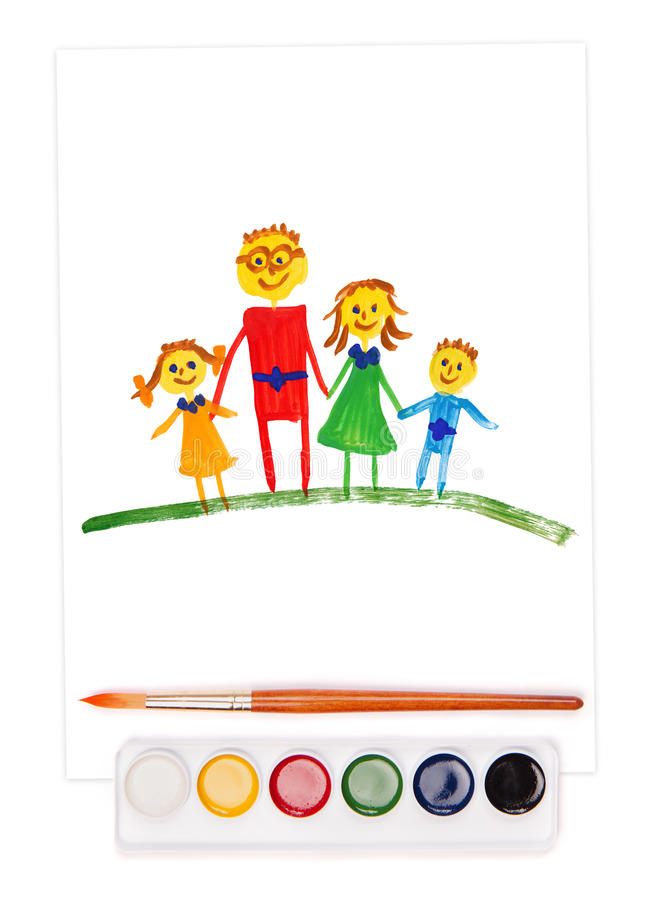 Painted family, watercolor set and brush royalty free illustration
