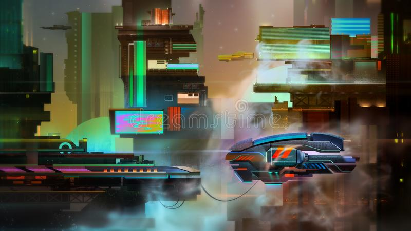 Painted fantastic bright city evening landscape with spaceship vector illustration