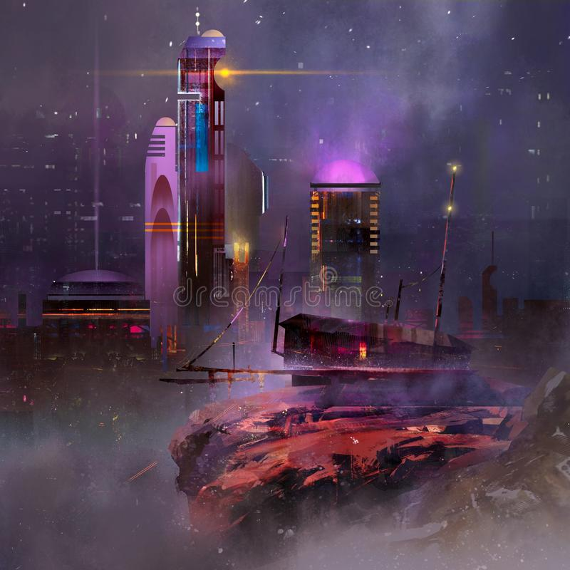 Painted fantastic landscape. Night city of the future. vector illustration