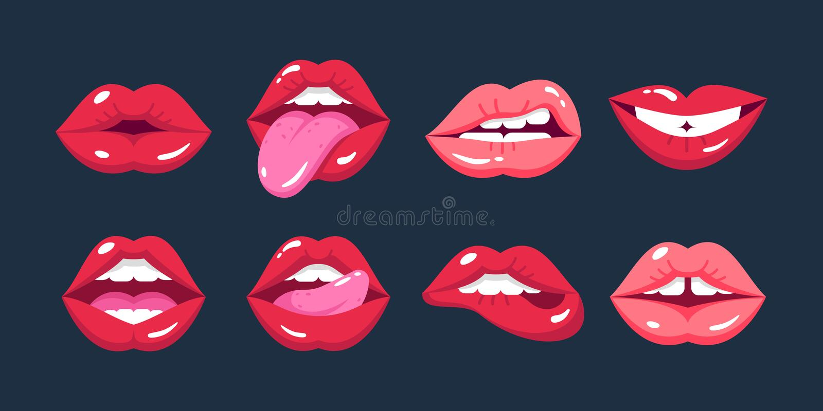 Painted female lips, in cartoon style, in different emotions, expressions. stock illustration