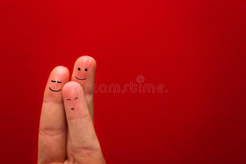 Painted finger smiley, happy holiday theme - Image.  stock images