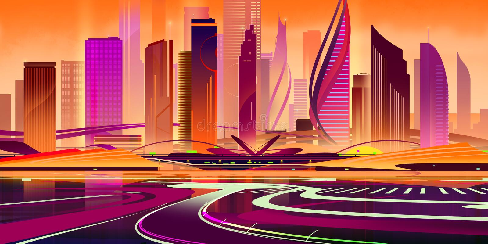 Painted flat city of the future from figures in the sunset light stock photo