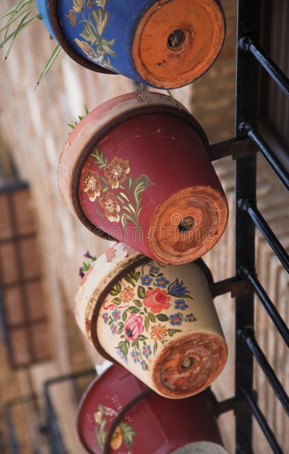Painted flower pots royalty free stock images
