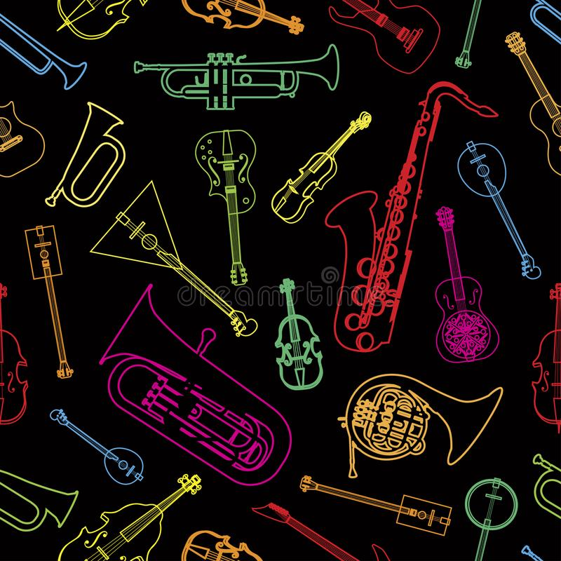 Musical instruments drawn in the form of a pattern stock illustration