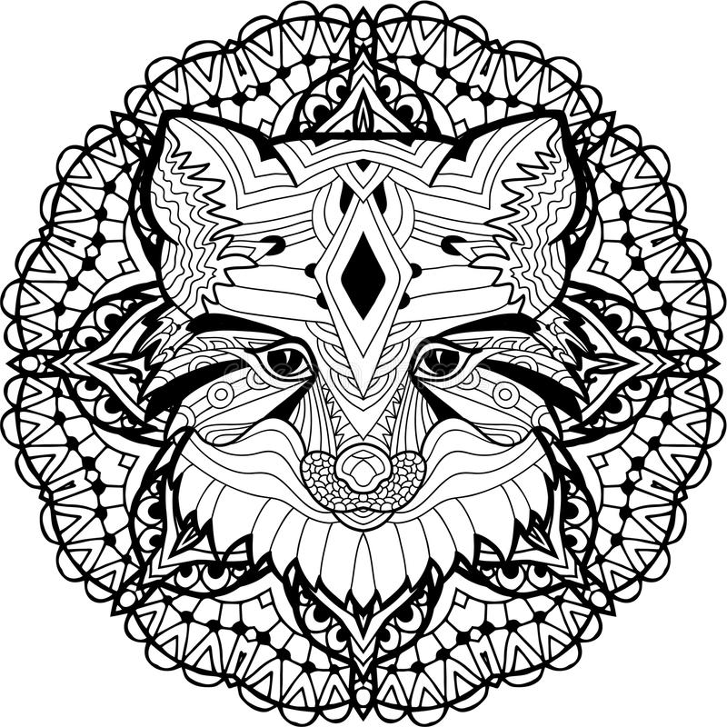 Painted Fox on a background of circular pattern. Coloring page stock illustration