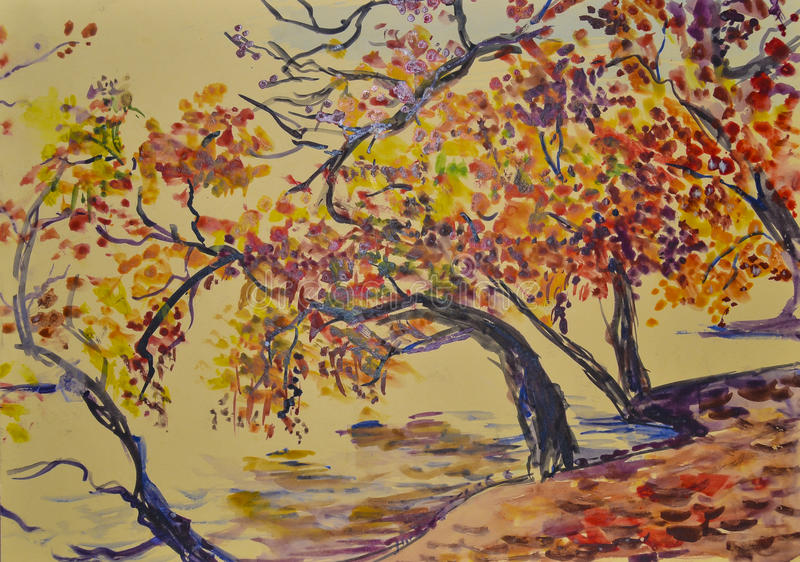 Painted gentle beautiful scenic autumn landscape with watercolor royalty free stock images