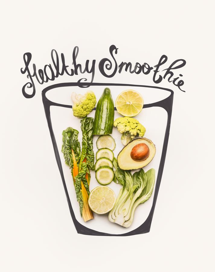 Painted glass with green smoothie drink ingredients: yellow chard or kale leaves, cucumber,avocado,broccoli and lemon , top view. stock illustration