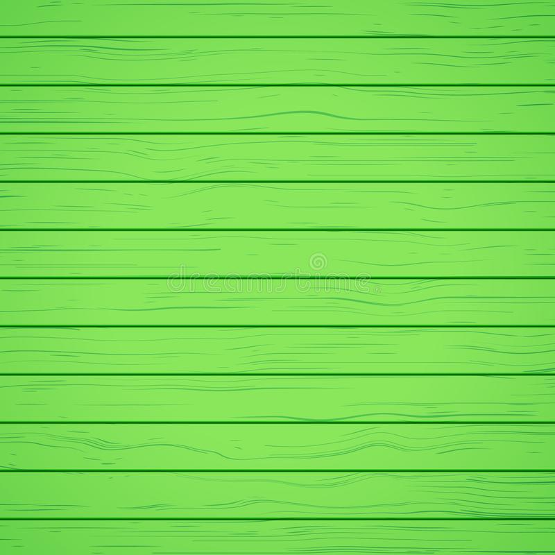 Painted green wood background material. Textured green wooden wall surface board panel vector illustration