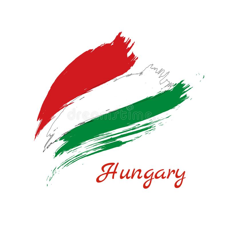 Painted grunge flag or Hungary made of two brush strokes: red and green, on white background. stock illustration