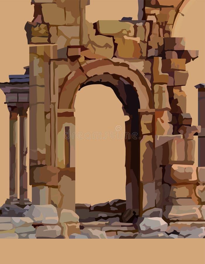 Painted ha dilapidato arco di pietra delle rovine antiche illustrazione vettoriale