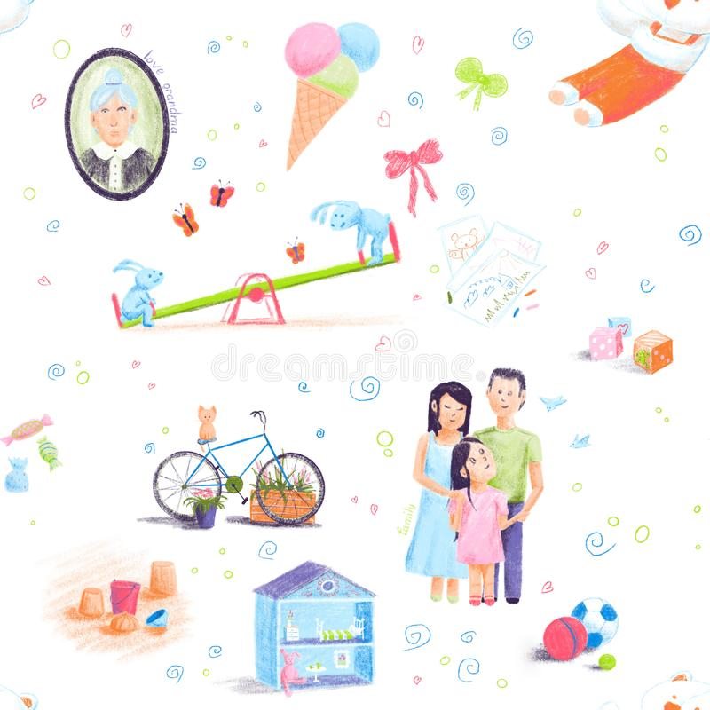 Painted by hand in doodle style seamless pattern on the theme of childhood. illustration for children design. stock illustration