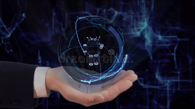 Painted hand shows concept hologram 3d robot on his hand stock photo